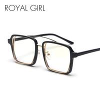 montura de gafas transparente al por mayor-ROYAL GIRL Gafas Cuadradas de La Vendimia Mujeres Hombres 2018 Nuevo Marco de Leopardo Negro Gafas Transparentes Gafas de lentes transparentes os023