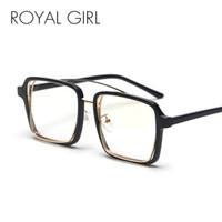 schwarze quadratische brillengläser großhandel-ROYAL GIRL Vintage Square Brille Frauen Männer 2018 Neue Black Leopard Frame Brillen Transparent Klare Linse Gläser os023