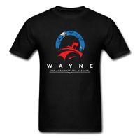 pamuk süper kahraman tişörtler toptan satış-Seçim Knight Wayne T Gömlek Erkekler Tshirt Batman Üstleri Moda Yaz Giyim Pamuk T-shirt Casual Superhero Tees Siyah