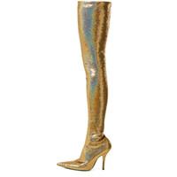 echtes leder über knie stiefel großhandel-2018 neue stil spitz über das knie stretch stiefel silber echtes leder sexy pailletten stiefel gold oberschenkel hohe stiefel für frauen