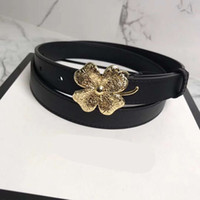Wholesale Golden Flower Patterns - 2018 women Fashion Stripe Pattern Chain Buckle Men flower Designer Belts European Style Brand waistbands High Quality Real Leather with Box
