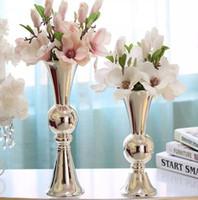 Wholesale free christmas art resale online - High Quality Silver Plating Candle Holder Flower Vase H38 cm