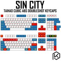 Wholesale gaming keyboard white color resale online - taihao cubic abs doubleshot keycaps for diy gaming mechanical keyboard color of sin city white blue iso high quality
