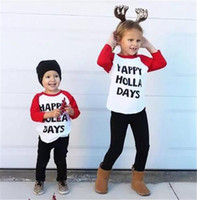 Wholesale Top Selling Baby Clothes - hot selling Kids Toddler Baby Boy Girl Xmas Family Long Sleeve T-shirt Tops Clothes HAPPY HOLLA DAYS funny letters printed cotton t shirt B1