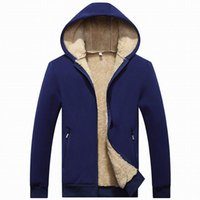 Wholesale mens fleece lined jackets - New Mens Hoodies Clothing Mens Heavyweight Sherpa Lined Full Zip Fleece Hoodie Cotton Winter Jacket Sweatshirt