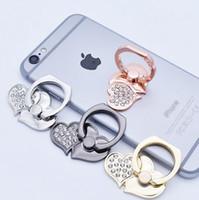 милые кольца с бриллиантами оптовых-Универсальный Diamond Love Shape Finger Ring Держатель для телефона Симпатичный мобильный телефон Finger Grip 360 Поворот телефона Стенты для смартфонов Планшеты Ipad