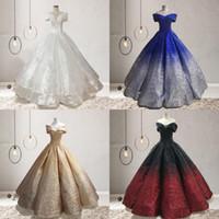 volant d'épaule achat en gros de-2019 robes de bal d'épaule de robe de bal décolletées à paillettes longueur de plancher à volants princesse Bling Mari