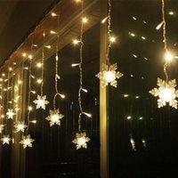 weihnachtsbaum lichtvorhang großhandel-Mrosaa 3 .8m LED Vorhang Schneeflocke Lichterketten LED Lichterketten Weihnachtsbeleuchtung Hochzeitsfeier Bäume Dekoration