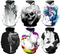Wholesale Army Hats - 2017 Christmas Santa NWT Autumn Winter 3D Animal Print Fashion Sport Women Hoodies Coat With Hat Pocket Digital Print Hooded Pullovers S~2XL