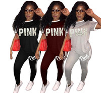Wholesale womens cotton yoga pants - Hot Sale pink Women's Tracksuits spring summer style sweat shirt Print tracksuit women Long Pants Pullover Tops Womens suprf Sport Suits