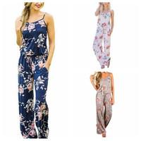Wholesale strap pant - Women Spaghetti Strap Floral Print Romper Jumpsuit Sleeveless Beach Playsuit Boho Summer Jumpsuits Long Pants 3 Colors 3pcs