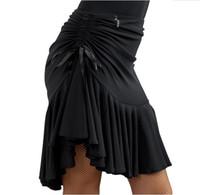 черные латинские юбки оптовых-Women's Latin Salsa Tango Rumba Cha Cha Ballroom Dance Dress Skirt Black Purple Square Dance Latin Dancewear for Women