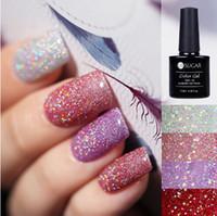 uv brilho gel esmalte venda por atacado-Holográfica Glitter Platinum UV Prego Gel Polonês Rainbow Colorido Super Shine Shimmer Manicure Soak Off LED Verniz