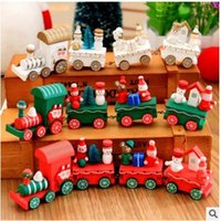 Wholesale mini wooden toy train - Christmas Wooden Toy Vehicles Wood Trains Model Toy Great Kids Christmas decorations Toys Gifts for Boys Girls