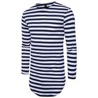 homens longos da camisa de t venda por atacado-2018 Novo Estendido Camisa de Verão T Longline Hip Hop Camisetas de Manga Longa Mens T-Shirts Preto S-2XL
