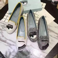 Wholesale blinking shoes resale online - Chiara Ferragni blinks gold silver sequined shoes flat bling loafer lazy woman ballet flats shoes slip on female loafers dancing shoes