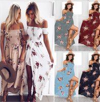 Wholesale long bandeau - Women Boho Long Dress Floral Vintage Bandeau Evening Party Beach Sundress Off shoulder beach dress KKA4394