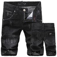 Wholesale skull plus - Wholesale-SKULL Summer Men's Denim Shorts Brand Ripped Holes Casual Jeans Shorts for Men 28-36 Free Shipping FS5181