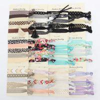 Wholesale Hair Tie Set - Hair Tie sets Women Girls Leopard Lace Floral Printed Elastic Hairbands Party headband Sweet Hair Accessories C3717
