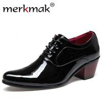 parlak gelinlik toptan satış-Merkmak Lüks Erkekler Elbise Düğün Ayakkabı Patent Parlak Deri 6 cm Yüksek Topuklar Moda Sivri Burun Yükseltmek Oxford Ayakkabı Parti ...