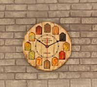 relojes de pared de madera rústica al por mayor-021178 Reloj de pared de madera de diseño moderno Vintage Rústico Shabby Chic Home Office Números Cafe Decoración Arte