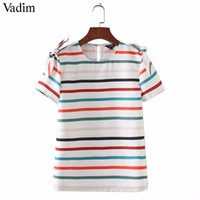 1f367984374 Vadim women elecolor striped blouse bow tie short sleeve o neck split  shirts female cute casual chic tops blusas DA088