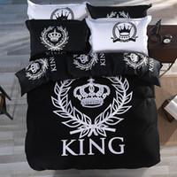 Wholesale Royal Blue Duvet - Wholesale-Royal style bedding set 4pcs black&white series bedlinens for double single twin full queen king size bed 100 Cotton duvet cover