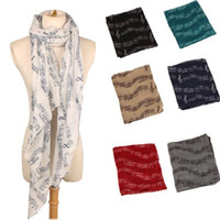 Wholesale shawl accessories for sale - 8 Colors cm Lady Musical Note Neck Soft Scarf Shawl Muffler Sunscreen Musical Note Printed Scarves Fashion Accessories CCA10207