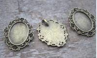 18mm oval kabakon toptan satış-10 adet / grup vintage bronz Ton oval Cam Cabochon ayarları fit 25mm x 18mm charm kolye cam kubbe