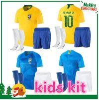 Wholesale brazil football kits - 2018 Brazil kids kit Jersey World Cup NEYMAR JR G.JESUS P.COUTINHO MARCELO RONALDINHO DAVID LUIZ Soccer Jersey 2019 Brazil Football Jersey