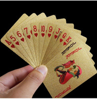 hoja de oro tarjetas al por mayor-Nueva moda Baraja de naipes de oro Juego de póquer de lámina de oro Tarjeta mágica 24 K Lámina de plástico de oro de oro Tarjetas duraderas a prueba de agua