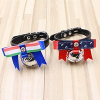Wholesale neck tie dog collar online - Cute Dog Neck Tie Collar With Big Bells PU Leather Puppy Collars Fashion Not Rusty Pet Supplies he BB