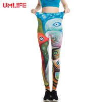 Wholesale Colorful Pants For Women - UMLIFE Fitness Yoga Pants Colorful Print Sports Leggings For Women Push Up Clothing Sport Trousers Running Tights Women Pants