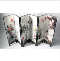 écrans de bambou achat en gros de-Bureau décoratif chinois laqué peinture-Mei, orchidée, bambou, paravent en chrysanthème