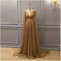 Wholesale arabic fashion evening dresses for sale - Group buy 2019 Gold Chiffon Arabic Formal Dresses Evening Wear Plunging Neck Evening Gowns Dubai A Line Chiffon Pleated Floor Length Prom Dress
