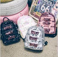 koreanischer bunter rucksack großhandel-Kinder Mädchen Rucksäcke 2018 Neueste Koreanische Bunte Pailletten Bowknot Panelled Schultern Taschen Für Teenager Mädchen Kinder Glitter Student Schultaschen