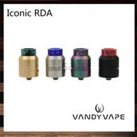 24mm rohr großhandel-Vandy Vape Iconic RDA 24mm Seiten- und Bodenrohre Airflow System Clamp Posts Design Mit Delrin Doc und Frosted Doc Tip 100% Original