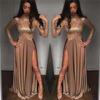 Wholesale gold sparkly shirt - Sexy Sparkly Beaded Sequins Long Sleeves Prom Dresses 2018 High Neck Long Splits Evening Dresses Black Girls Prom Gowns BA6620