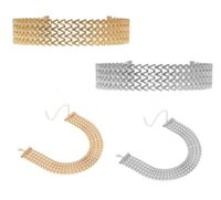 Wholesale v shape gold necklace - 2018 Punk V Shape Choker Necklace Chain For Women Gold Color Gothic Wide Chocker Collar Necklace Girl Gift G55L