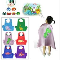 Wholesale cloak cape costume child online - kids Dinosaur Costume Triceratops Cape Cloak Animal Masks for Kids Birthday Party Halloween Costume Shower Gifts cape mask set KKA6114