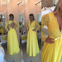 ingrosso bellissimi abiti da ballo giallo-Abiti da sera con maniche lunghe in bella lunghezza 2018 Perla con perline in pizzo lungo in chiffon Prom Dress Vestido De Festa Longo