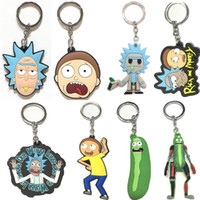Wholesale cosplay trendy online - Rick and Morty Keychain Styles Cartoon Soft Rubber Double Side Keyring Metal Pendant Cosplay Jewelry Accessories OOA5625