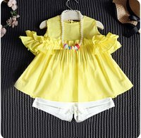 terno amarelo para criança venda por atacado-2018 novo bebê meninas conjuntos de roupas de verão crianças set amarelo camisolas de algodão + shorts brancos calça 2 pcs terno