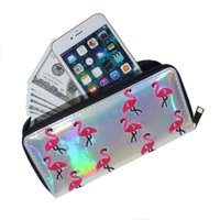 Wholesale womens business card holders - Womens Long Wallets And Pures Zipper PU Leather Laser Flamingo Embroidered Lady Clutch Purse Cell Phone Credit Card Women Wallet