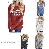 Wholesale mom shirts online - Mama Bear Graphic T shirts autumn Patched Monogram Pullovers Moms women Tees fashion Mama Tops MMA858