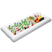 Wholesale kids trays - Inflatable Serving Bar 125*62*12CM ECO-Friendly PVC Buffet Party Ice Tray Cooler Salad Drinks Food Holder Fun Adults Kids Swim Party Toys