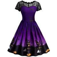 Wholesale flora costume for sale - Group buy Sexy Women Short Sleeve Halloween Retro Lace Vintage Dress A Line Pumpkin Swing Dress Party Costume