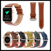 Wholesale classic leather band watches online - For Apple Watch Strap Bands Genuine Real Leather Straps Classic Hand Made Band mm Bracelets With Adapter