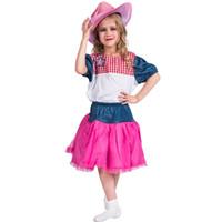 fantasia de vaca venda por atacado-Meninas Cowgirl Cutie Costume Crianças Western Cow Girl Fantasia Dress Cowboy Sweetie