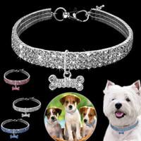 ingrosso fila del cane del collare-Moda Pet Accessori 3 Row Reno Rock Elastic Line Pet collana cane collo di cristallo artificiale cinturino collo T7I003